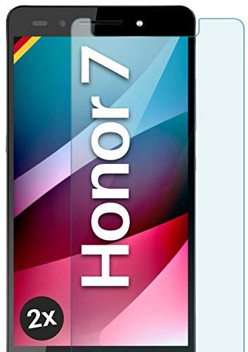 moex Panzerglas kompatibel mit Huawei Honor 7/7 Premium - Schutzfolie aus Glas, bruchsichere Bildschirmschutz Folie, Crystal Clear Panzerglasfolie, 2X Stück