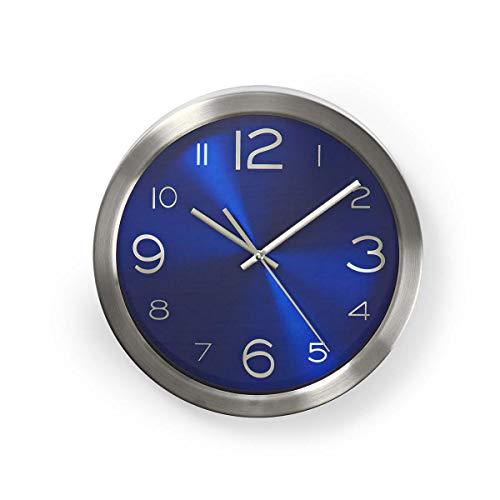 NEDIS Orologio da Parete Orologio da Parete | Diametro: 30 cm | Acciaio Inossidabile | Acciaio Inossidabile Blu/Argento