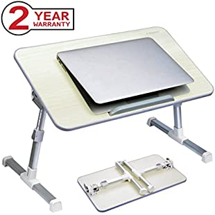 Avantree Adjustable Laptop Bed Table, Foldable Breakfast Tray, Portable Lap Standing Desk, Notebook Stand Reading Holder for Couch Sofa Floor Kids (Honeydew) - Standard Size:Shizuku7148