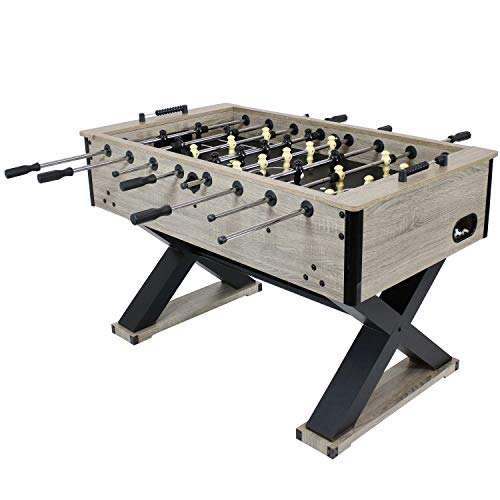 Sunnydaze Delano Foosball Table with Gray Distressed Wood Look - 54.5-Inch Indoor Heavy Duty Soccer Game Table - Table for Gameroom, Man Cave or Basement - Fun for The Whole Family