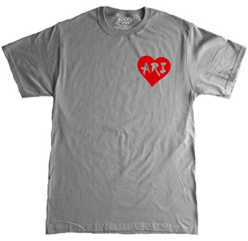 Rock Scythe – Love Ari Cute Heart playera para adulto, Gris/Rojo, XX-Large