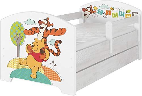 Original Disney's Kinderbett mit Rausfallschutz, Schublade und Matratze (80x160, Winnie The Pooh und Tiger)