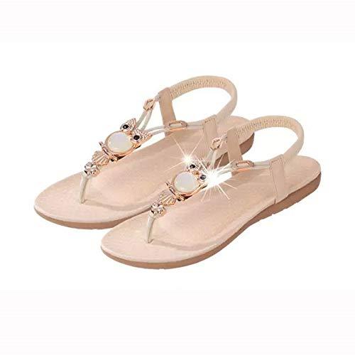 Uil kralen platte sandalen Toe Beach dames sandalen 38 EU wit