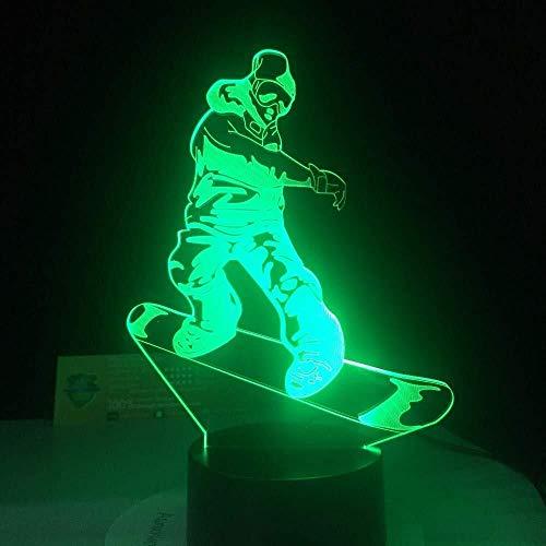 QB Nachtlamp, 3D illusie cartoon, Nachtlampje Snowboarden LED Lamp 7 Veranderende Kleur Lamp Acryl USB Bureaulampen Beste Geschenken