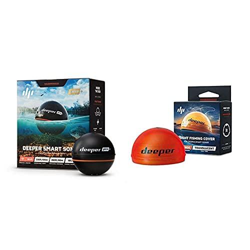 Deeper PRO Plus smart Fischfinder - kabelloser W-LAN Fischfinder mit eingebautem GPS für Ufer Angler & Nachtangelabdeckung - kompatibel mit Deeper Smart Fischfinder, Orange