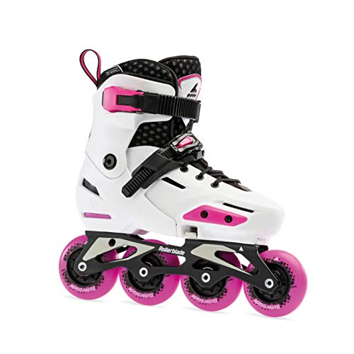 Rollerblade Apex Adjustable Fitness Inline Skate, White/Pink, Junior, Urban Performance Inline Skates