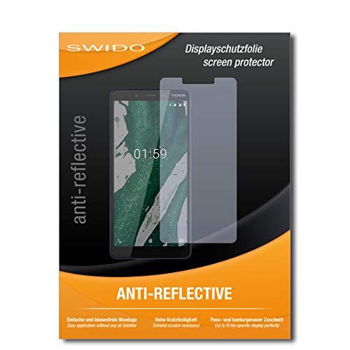 SWIDO Schutzfolie für Nokia 1 Plus [2 Stück] Anti-Reflex MATT Entspiegelnd, Hoher Festigkeitgrad, Schutz vor Kratzer/Folie, Bildschirmschutz, Bildschirmschutzfolie, Panzerglas-Folie