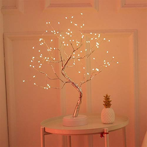 Grneric ShiDaTong LED Night Light Mini Christmas Tree Copper Wire Garland Lamp for Home Kids Bedroom Decor Fairy Lights Luminary Holiday Lighting (Emitting Color : 108leds Warm White)