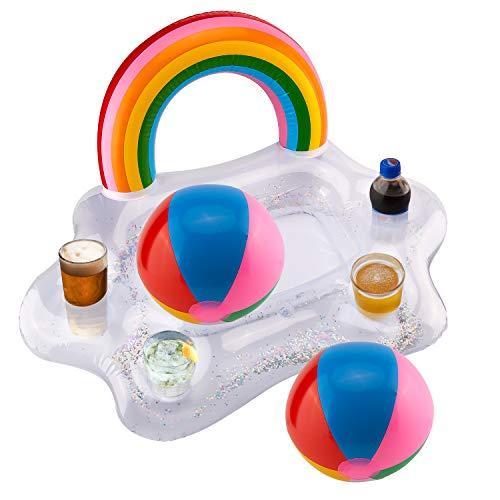 SAVITA Posavasos Hinchables - Inflable Rainbow Cloud Drink Holder con Pelota de Playa de 2...