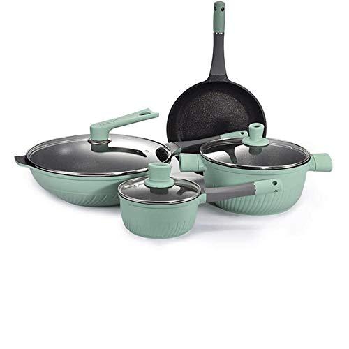 Conjunto de Cacerolas Antiadherentes Set de utensilios de cocina Sopa de sopa Panar Pan Wok Milk Pot Cocina Cocina Cocinar Pot Set Inducción Cocina antiadherente Pan Sombra Cacerola Casserole Hotpot