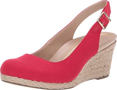 Vionic Women's Aruba Coralina Slingback Wedge - Espadrille Wedges with Concealed Orthotic Arch Support Cherry 8.5 Medium US