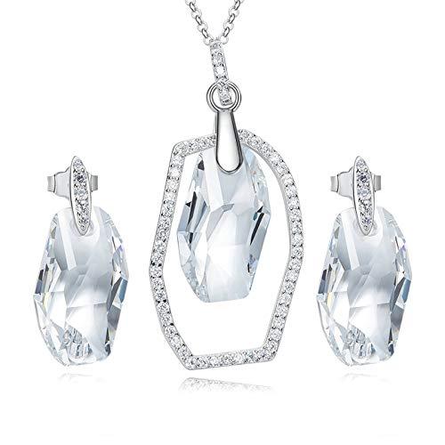 ANAZOZ Sieraden Sets voor Vrouwen Zilver 925 Zilver Oostenrijkse Kristal Onregelmatige Hanger Oorbellen voor Vrouwen