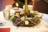 Heitmann Deco Weihnachten - Kranz - Tannenzapfen - Kugeln - Advent - Gold,Glitzer, Natur - ca. 32 x 32 x 9,5 cm - 7