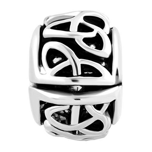 Q&Locket Irish Celtic Knot Swirl Flower Clip Lock Charm European Bead Spacer Fit Charms Bracelet (Style1)