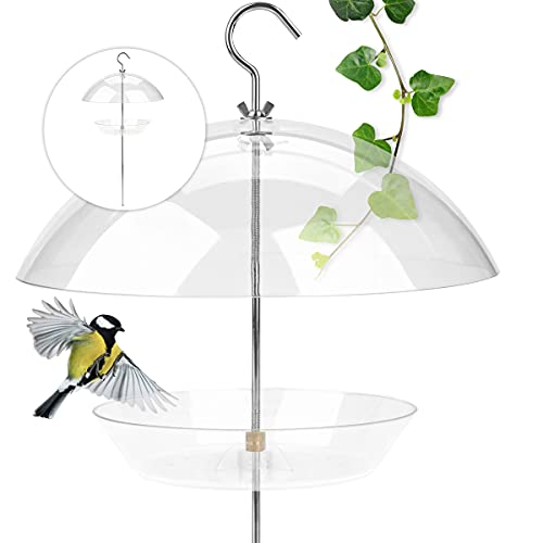 WILDLIFE FRIEND I Vogelfutterspender mit Steckstab – Transparente Vogelfutterglocke, Vogel-Futterhaus, Futterspender aus Kunststoff I Futtersilo für Wildvögel - inkl. Aufhängung
