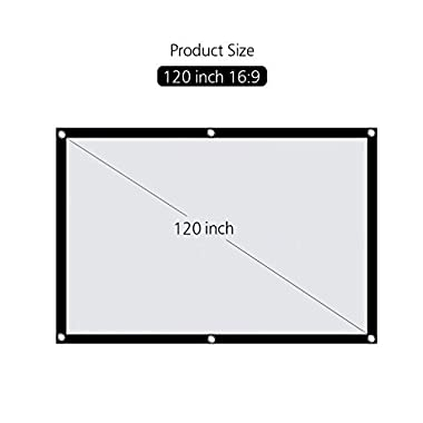 Projector Screen, HENZIN 120  Inches 16:9 Portable Indoor Outdoor Projection Movie Screen Foldable Wall Mounted with Peel and Hooks (Anti-Crease, Easy to Clean, Support Double Sides Projection)