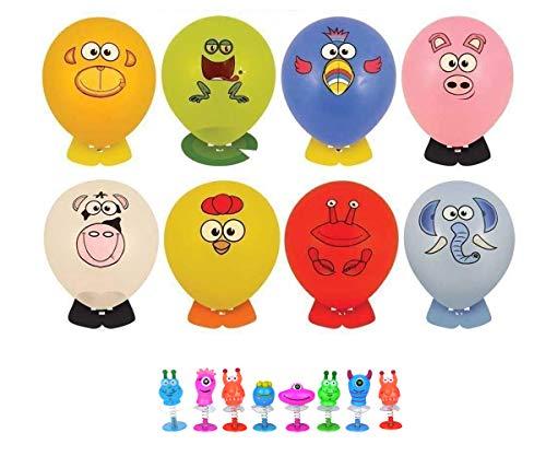KINPARTY ® - 8 Globos para decorar con pegatinas (caras animales) y 8 monstruos saltarines – Ideales para regalos de cumpleaños, fiestas, relleno de piñatas