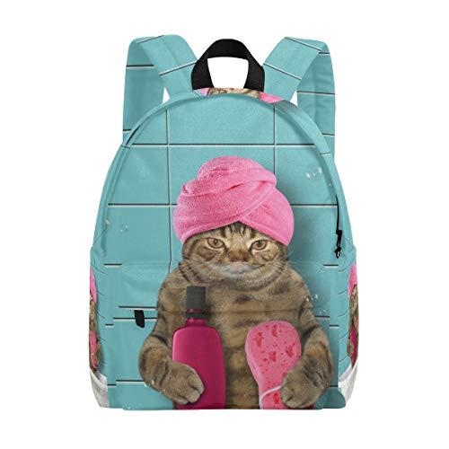 Rucksack Daypack Leichte Badewanne Cat Rucksack Canvas Book Bag für Jungen Mädchen Teens