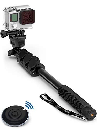 Professional 10-in-1 Monopod Selfie Stick for All GoPro Hero, Action Cameras, Cellphones, Digital Compacts with Bluetooth Remote Shutter - Extends 15'- 47', Weatherproof Shockproof - Take It Anywhere