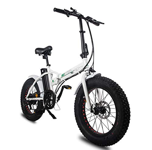 "ECOTRIC Electric 20' X4"" Fat Tire Bicycle Folding Bike 36V 12Ah 500W Lithium Battery Beach Snow Mountain Ebike Moped White & Black"