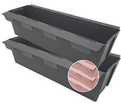 Pilix Macetero Europalé de 2 unidades con sistema patentado de ranuras   37 cm 2 unidades antracita   Maceta de plástico   Insertos para palés europeos
