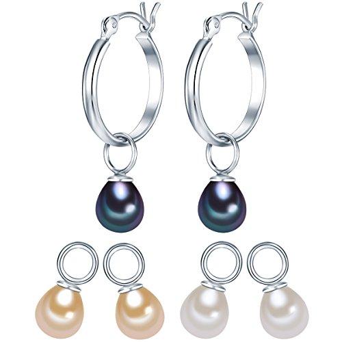 Valero Pearls Damen Creolen aus 925/- Sterling Silber inkl. 3-er Set Einhänger