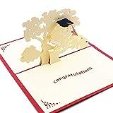 Xinqin Biglietto regalo laurea 3d,Biglietto di Auguri con Origami,biglietto laurea pop up, Laurea Cappello,3D Biglietti per laurea,3D Card - Regalo per studenti laureandi