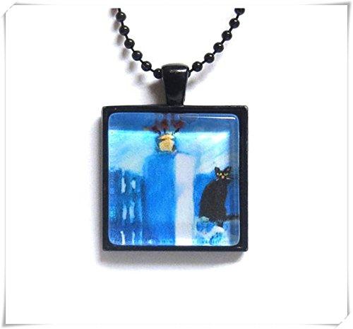 Elfhaus schwarze Katze Malerei Glas Fliese Anhänger Kunst-Halsketten exquisite Schmuck reine Handarbeit