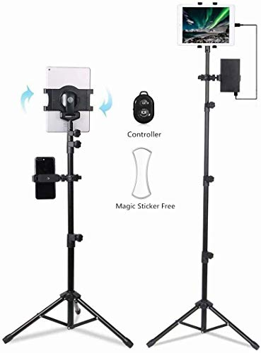 Ecoolbuy Portable Universal Floor Tablet Tripod Mount Stand Bracket for 7 to 10 inch Tablets 360°Height Adjustable Display Music Meeting Video + Bag (7-10')