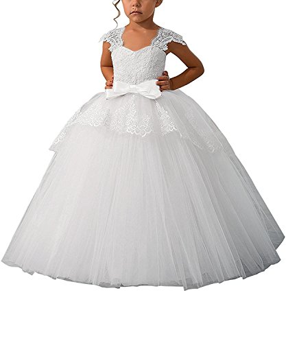 Elegant Lace Appliques Cap Sleeves Tulle Flower Girl Dress 1-14 Years Old All White Size 12
