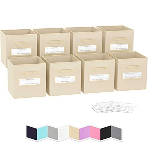 Ordnungsbox - 8 Boxen Aufbewahrung Set | Faltboxen Mit Zwei Tragegriffen & 10 Label Karten | Faltbare Kallax Boxen | Extra Stabile Stoffbox Als Kallax Einsatz | Kisten Aufbewahrung [Beige]