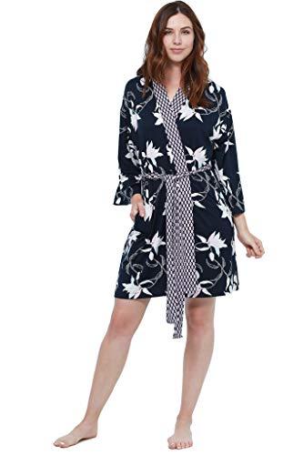 Jones New York Women's 2-Piece Soft Lightweight Floral Kimono Robe and Twin Print Night Gown Sleepwear Sleepshirt Set, Navy, Small