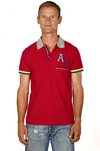 UGHOLIN – Polo – Slim Fit - Uni – Coton piqué – Manches Courtes - Homme - S - Rouge