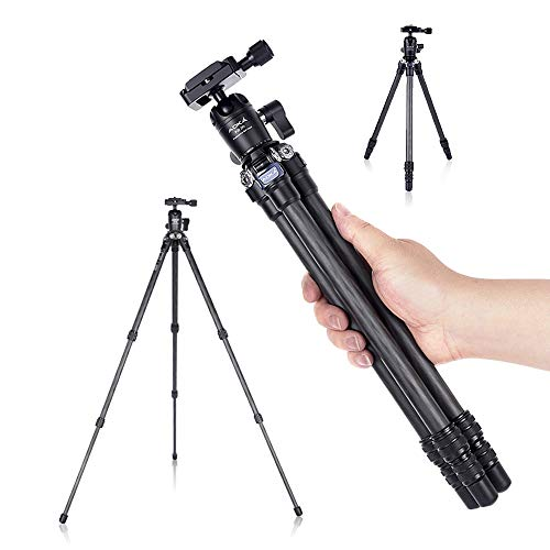AOKA 28in/1.1lb Lightweight Compact Carbon Fiber Tripod with 360° Ballhead Travel Mini Tripod for Mobile Phone and Compact Mirrorless Cameras
