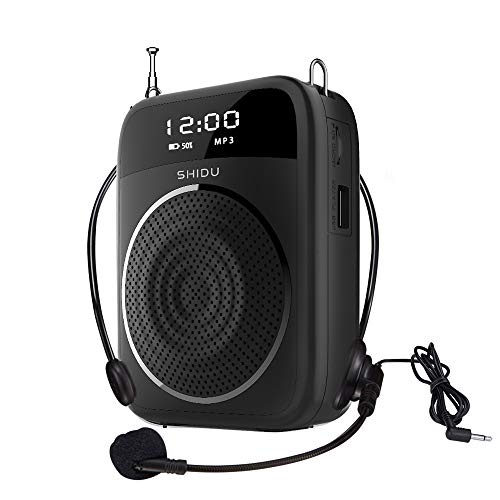 Draagbare voice versterker, 15W PA-systeem met microfoon headset, OLED-scherm, bluetooth, FM, opnamefunctie, luidspreker voor het onderwijs, handleiding, fitness instrumenten, enz. (M805)