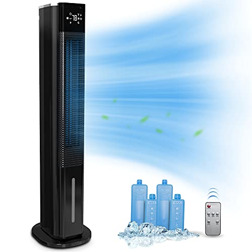 2-in-1 Evaporative Air Cooler & Tower Fan - Sunday Living 42-In Swamp Cooler Fan, Humidification Function, 1.3 Gal Water Tank, 3 Wind Speeds, 3 Modes, 12H Timer, Touch Screen, Remote Control