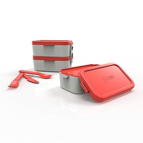 Bento Box Dupla Tampa Primacor Anodilar Vermelho Polipropileno