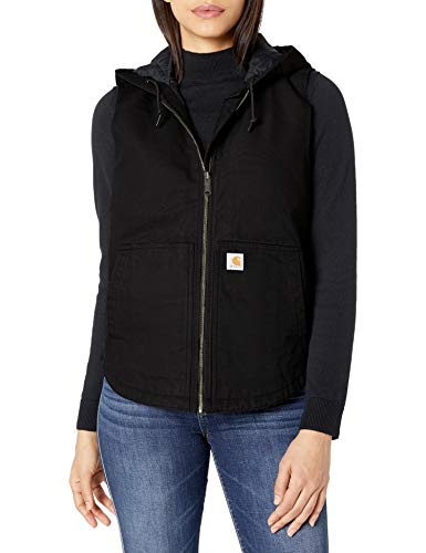 Carhartt Women s Washed Duck Hooded Vest, black, X-Large