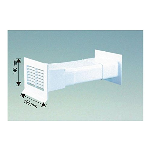 Abluft Mauerkasten für 125er Abluftsystem in Weiß mit Rechteckanschluss teleskopierbar von 160 - 450 mm mit Rückstauklappe bis 450 mm Mauerstärke Ablufttechnik für Flachklanal / Vierkantrohr