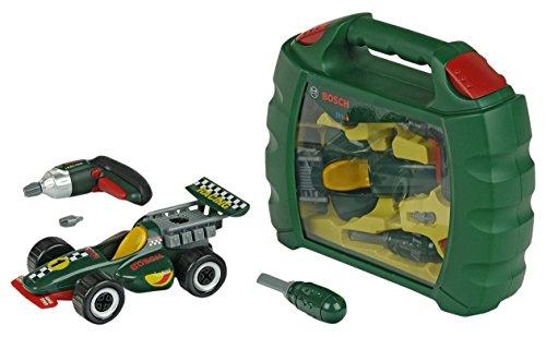 Theo Klein 8375 Bosch Grand Prix Koffer mit Ixolino I Mit batteriebetriebenem Akkuschrauber Ixolino I Rennwagen in 10 Teile zerlegbar I Maße: 32 cm x 26 cm x 9 cm I Spielzeug für Kinder ab 3 Jahren