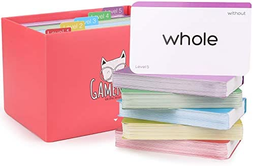 Gamenote 520 Sight Words Flash Cards with Card Folders Storage Box Dolch Fry High Frequency product image