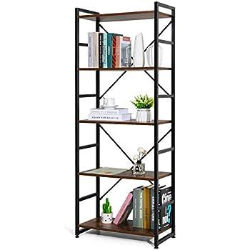 Haton Bookshelf Wood Bookcase with Metal Frames Industrial Storage Shelf Organizer Modern Tall Display Shelf Rack Open Standing Shelving Unit for Home Office Study Brown,5 Tier