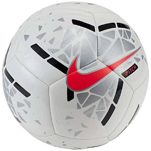 Nike Unisex-Adult Nike Pitch Soccer Ball SC3807 White/Metallic Silver/Laser Crimson 5