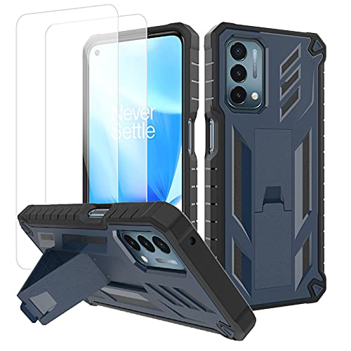 """Oneplus Nord N200 5G Case with 2 Screen Protector Stand Holder Hybrid Heavy Duty Shockproof Hard PC Soft TPU Shockproof Kickstand for Sport Men/Girls Slim Protective Cover Oneplus N200 5G Case 6.49"""""""