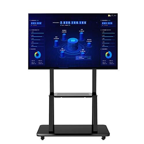 TV-Standfüße ROMX Rollender Fernsehständerwagen Mobiler Fernsehwagen Fernsehständer mit Rollen für 32 bis 110 Zoll LCD LED OLED Plasma Flachbildschirme bis 200 kg (Schwarz)