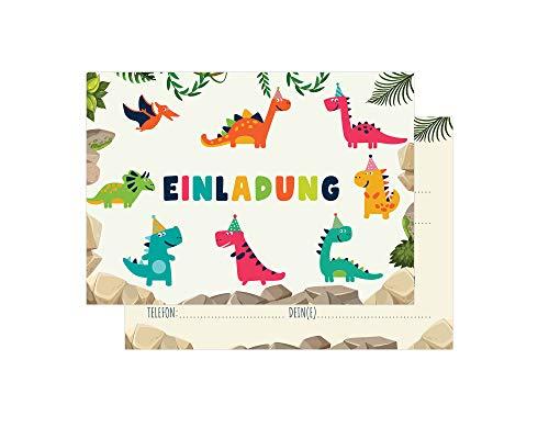 Friendly Fox Einladung Dino - 12 Einladungskarten Dinosaurier zum Kindergeburtstag Junge Mädchen - Dinoparty - Geburtstagskarte Dino STEINZEIT