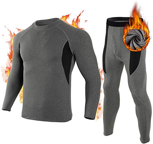 Mens Thermal Underwear Set Base Layer Top 2t Boys Ski Fleece Thermal Long Johns Shirts Pants Skiing Pack for Men, Grey S