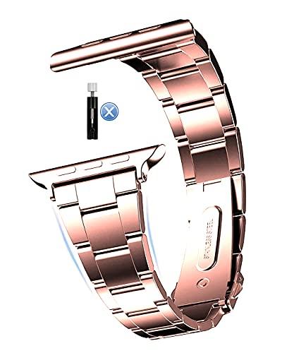MaKTech Correa de Acero Inoxidable,(No se Necesita Herramienta) Banda de Reloj de Metal con Eslabones de Tres Piezas Compatible con Apple Watch Serie 6/SE/5/4/3 (44mm/42mm,Rosa)