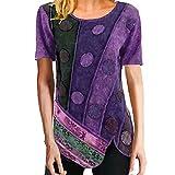 BAOQI Camiseta de mujer africana, manga corta, cuello redondo, blusa elegante, boho, vintage, color degradado, asimétrico, ajustada, túnica, túnica, top de verano, morado, S