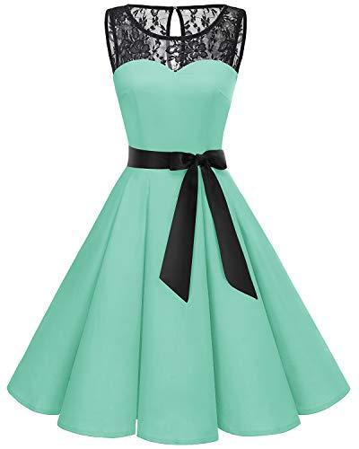 Bbonlinedress jaren 50 vintage dames cocktailjurk kanten mouwloze ronde swing jurk